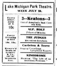 1905 performance at Muskegon's Lake Michigan Park Theater