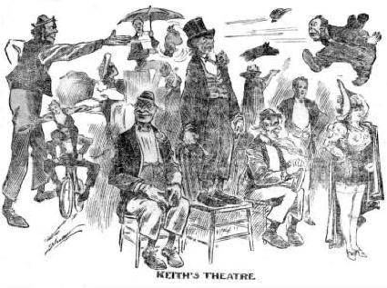An artist's view from the period of the Keaton act